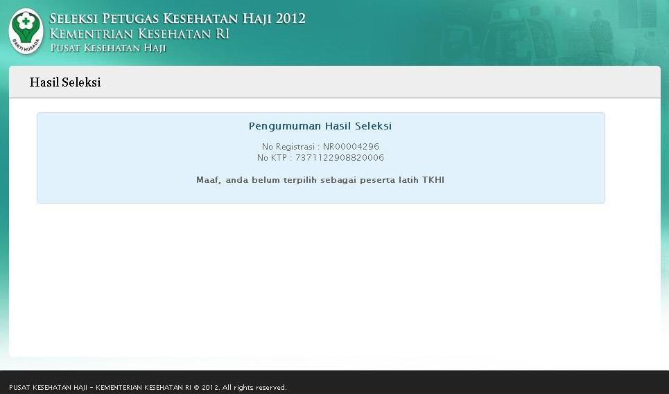 Pengumuman Lulus Petugas Kesehatan Haji TKHI PKHI 2012