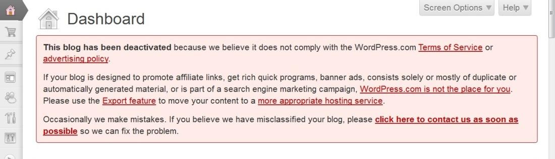 banned wordpress 3
